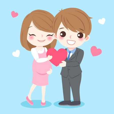 cartoon father and pregnant mother take red heart on blue background