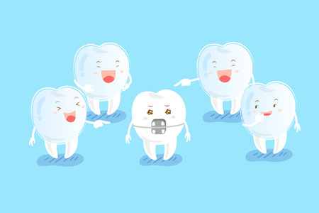 ridicule: Cute cartoon tooth wearing invisible braces are laughing Illustration