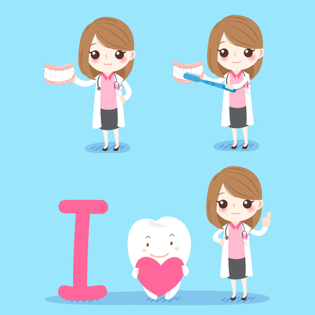 cute cartoon woman dentist teach you how to brush tooth on blue background