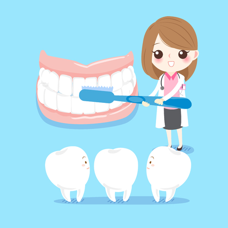 Cute cartoon female dentist teaches teeth how to brush