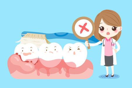 Dentista lindo de la mujer de la historieta con el problema de la caries dental