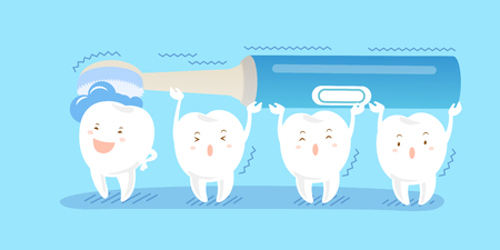 Cute cartoon tooth with electric toothbrush on blue background