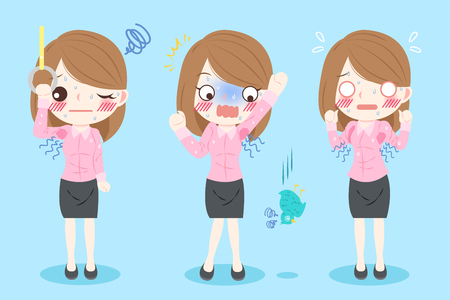 intolerable: cute cartoon businesswoman with body odor problem on blue background
