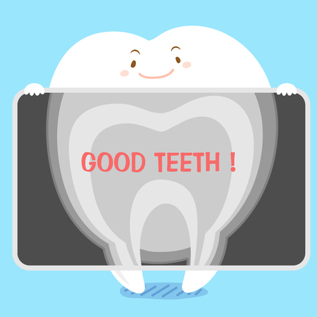 radiography: Cute cartoon tooth with x-ray on blue background Illustration