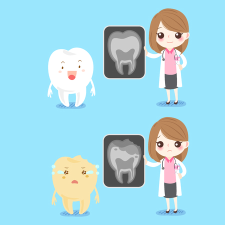 cute cartoon woman dentist with tooth problem on blue background