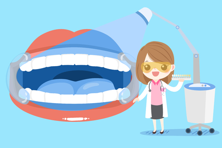 A cute cartoon woman dentist with tooth clean concept