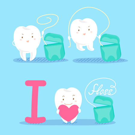 skip: Cute cartoon tooth with floss on blue background