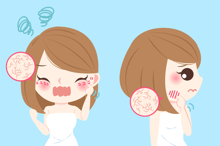 Cartoon woman with dry skin and feel bad on blue background Stok Fotoğraf - 75896135