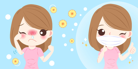 Cute cartoon girl get hay fever and feel uncomfortable. Иллюстрация