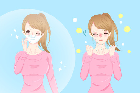 uncomfortable: Cute cartoon girl get hay fever and feel uncomfortable. Illustration