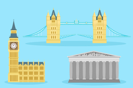 Cute cartoon england building on blue background. Illustration