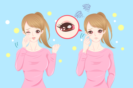 Cute cartoon feel eye pain with hay fever on blue background. Illustration