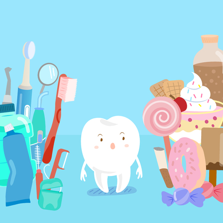 Cute cartoon tooth with tool and junk food on blue background.