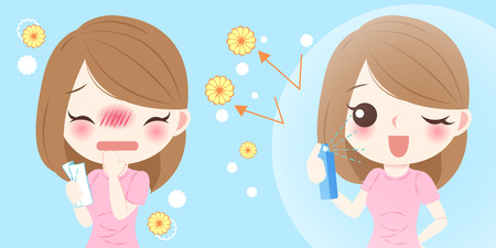 Cute cartoon girl get hay fever and feel uncomfortable Stock Illustratie