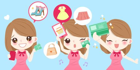 call centre girl: cute cartoon woman smile happily with shopping on blue background