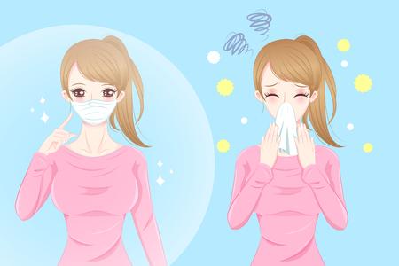 Cute cartoon girl get hay fever and feel uncomfortable Stock Illustratie