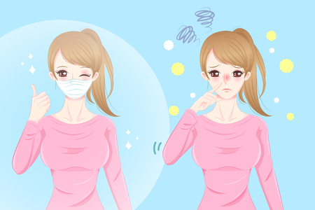 uncomfortable: Cute cartoon girl get hay fever and feel uncomfortable Illustration