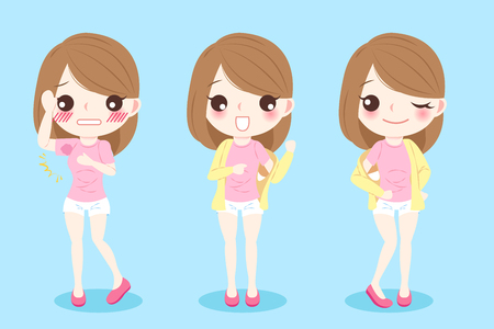 Cute cartoon woman with armpit problem on blue background Illustration