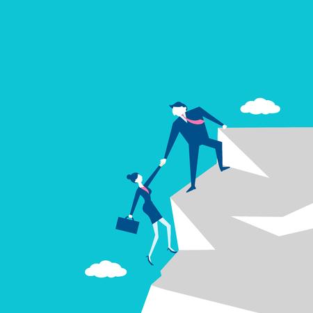 montañas caricatura: Empresarios en el acantilado con el concepto de trabajo en equipo