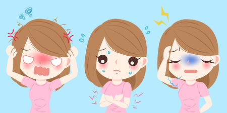 Cartoon woman feel bad with menstrual period on blue background 일러스트