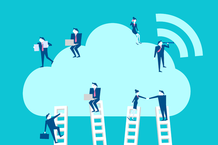 woman cellphone: Cute cartoon businespeople with cloud computing on blue background.