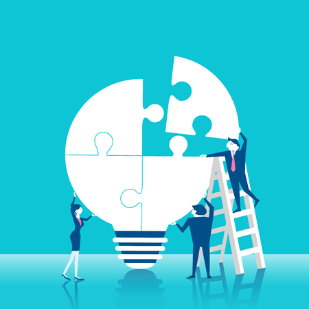Cute cartoon business people with puzzle light bulb on blue background.