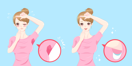 Cute cartoon woman with armpit problem before and after.