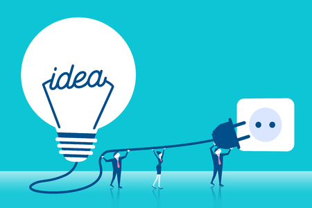 Cute cartoon business people with light bulb on blue background.