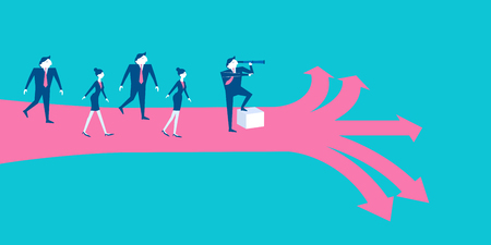 Business people with leadership concept on blue background.
