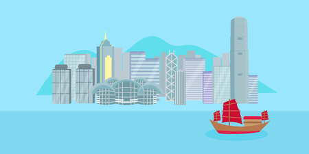 Cute cartoon hongkong city on blue background.