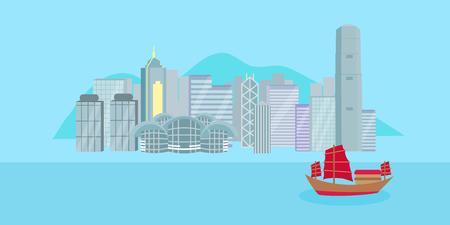 Cute cartoon hongkong city on blue background.