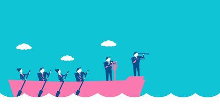 파란색 배경에 리더십 개념을 가진 사업 사람들입니다.