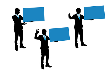 Silhouette of businessman take billboard on the white background Illustration
