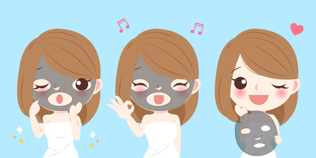 Beauty cartoon skin care woman with mask