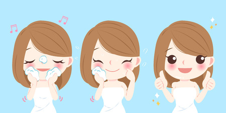 Beauty cartoon skin care woman wash her face