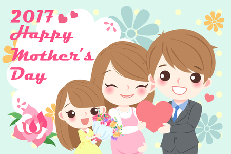 abdomen women: cute cartoon happy mother day for your concept