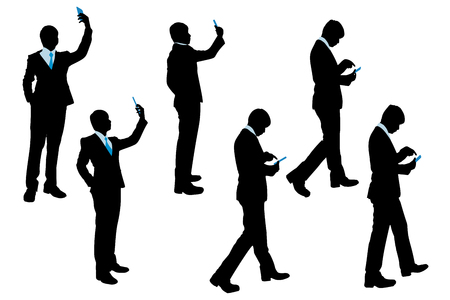 man profile: silhouette of businessman use phone on the white background