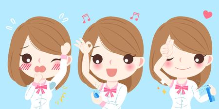 cute cartoon women with body odor on blue background