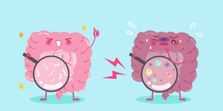 Cute cartoon intestine with healthy concept on blue background.