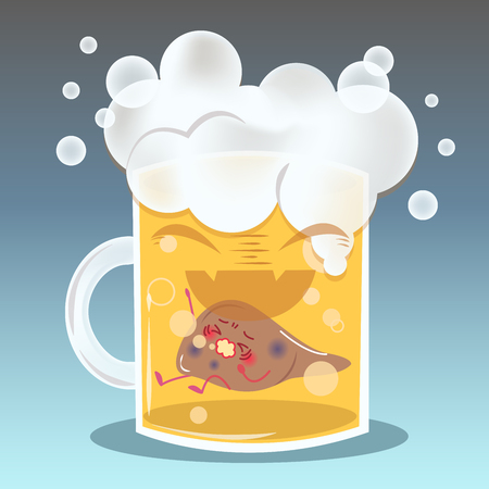 Cute cartoon liver feel pain on beer.