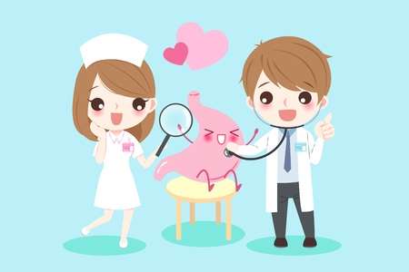 Cute cartoon doctors with stomach for your health concept.