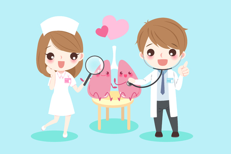 Cute cartoon doctors with lungs for your health concept.