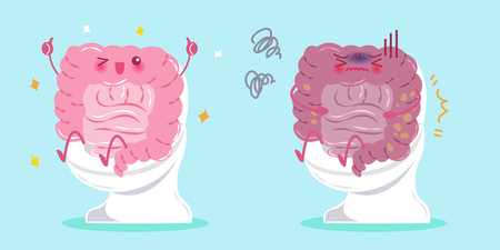 Cute cartoon intestine with healty concept on blue background.