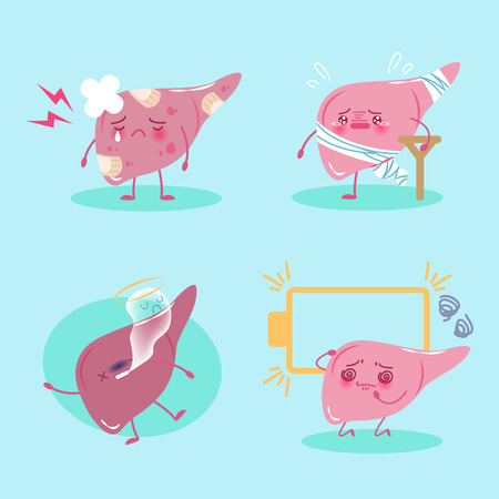 Cute cartoon liver feel pain on green background.