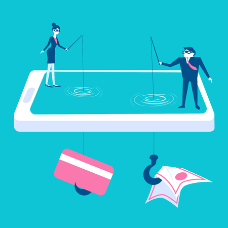 bank robber: Businesspeople with credit and money concept on the blue background.