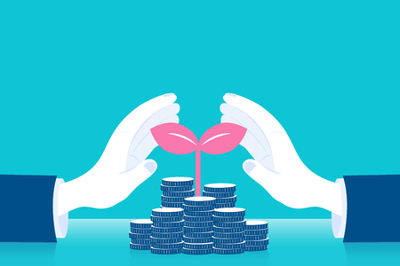 Business with hand protect money tree concept on the blue background.