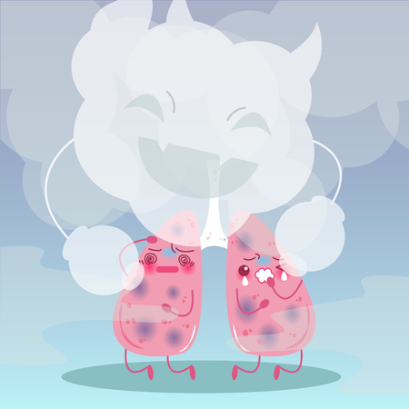 Cute cartoon lung with health concept on blue background.