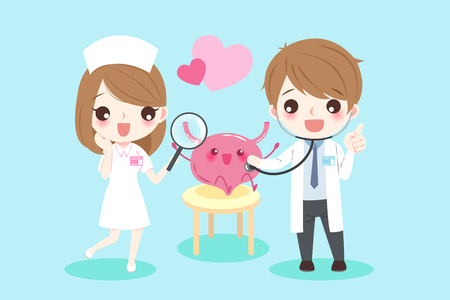 Cute cartoon doctors with bladder for your health concept.