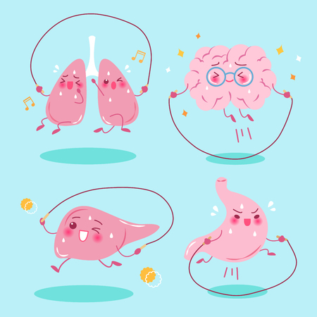 skip: Cute cartoon organs do exercise on green background