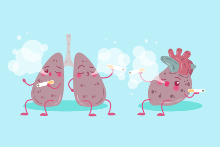Cute cartoon lung and heart with health concept